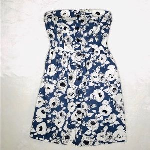 Cooperative Blue Floral Strapless Dress Small